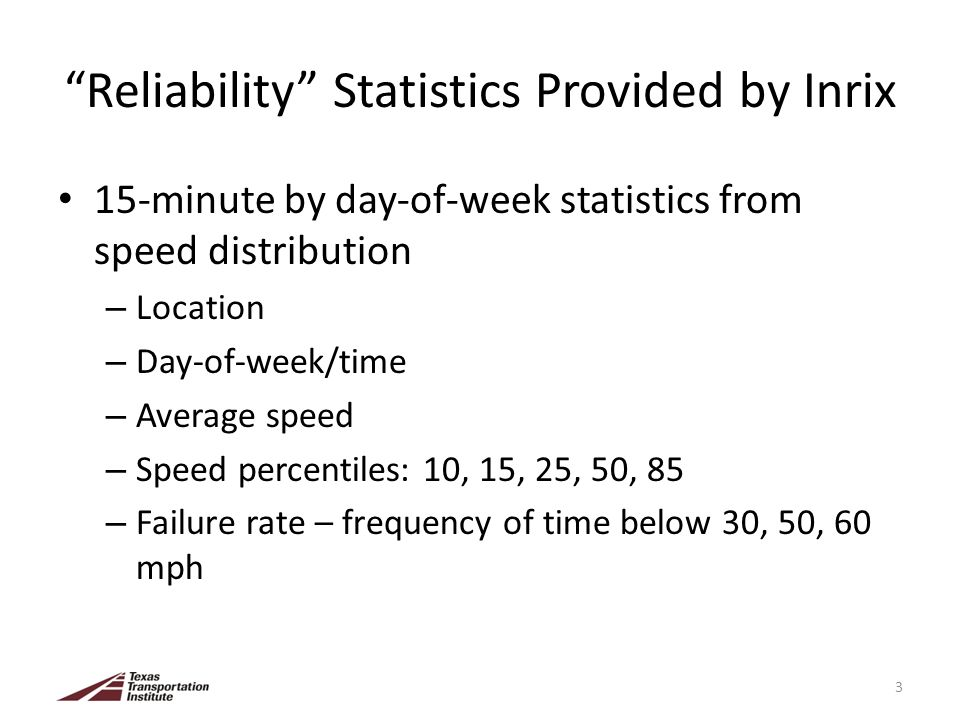 Reliability Statistics Provided by Inrix 15-minute by day-of-week statistics from speed distribution – Location – Day-of-week/time – Average speed – S