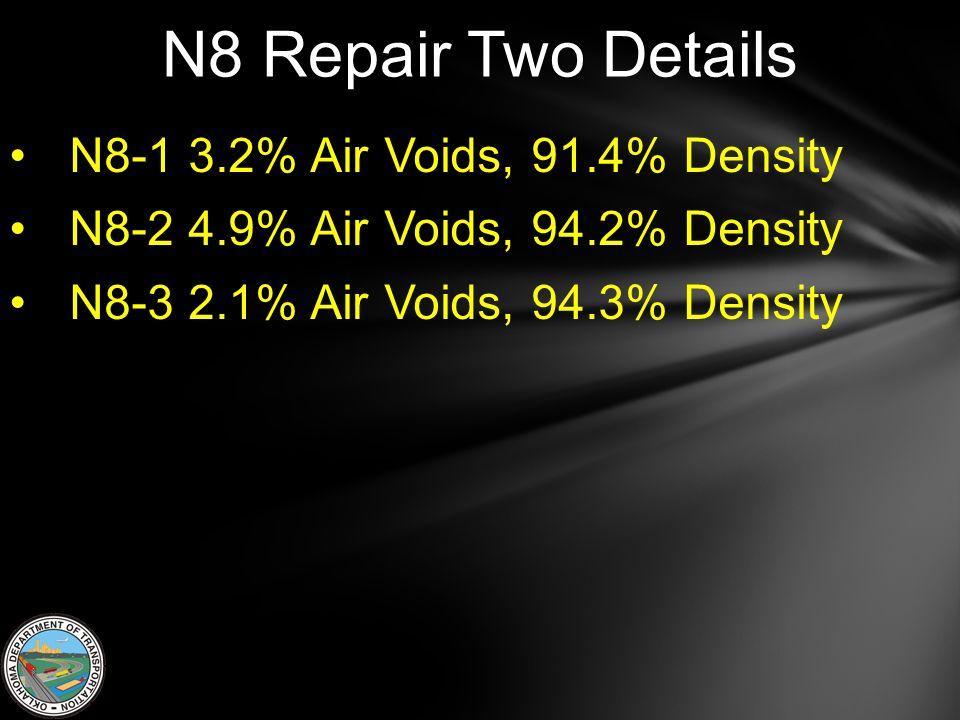 N8 Repair Two Details N8-1 3.2% Air Voids, 91.4% Density N8-2 4.9% Air Voids, 94.2% Density N8-3 2.1% Air Voids, 94.3% Density