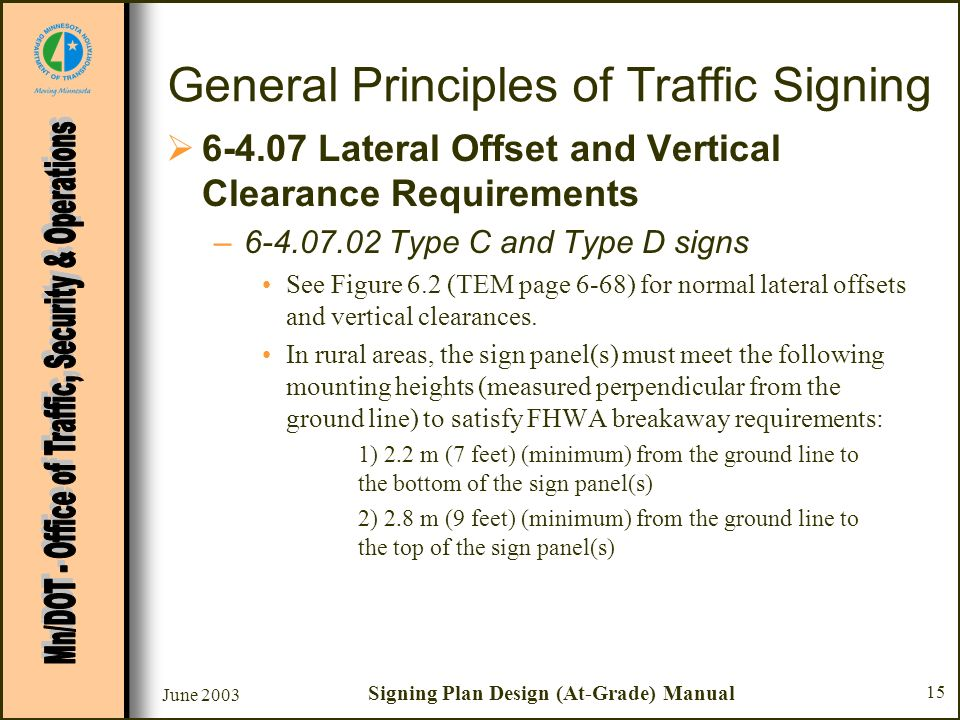 June 2003 Signing Plan Design (At-Grade) Manual 15 General Principles of Traffic Signing 6-4.07 Lateral Offset and Vertical Clearance Requirements –6-