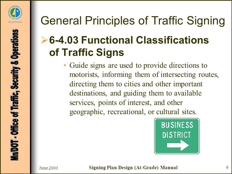 June 2003 Signing Plan Design (At-Grade) Manual 6 General Principles of Traffic Signing 6-4.03 Functional Classifications of Traffic Signs Guide signs