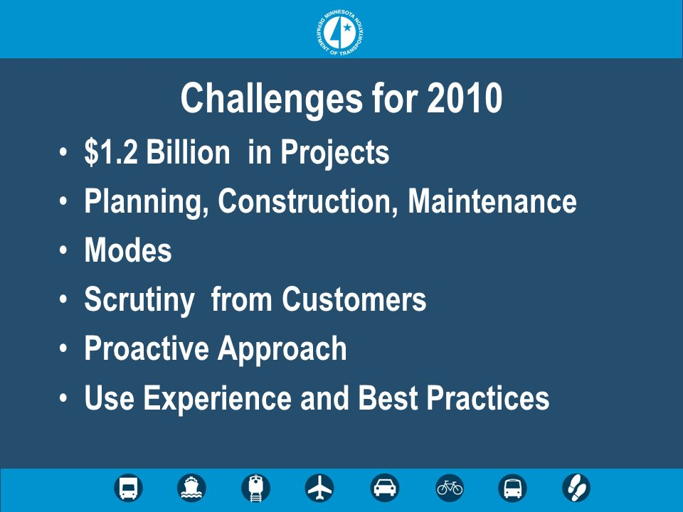 Challenges for 2010 $1.2 Billion in Projects Planning, Construction, Maintenance Modes Scrutiny from Customers Proactive Approach Use Experience and B