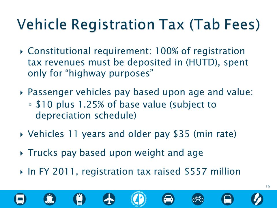 Constitutional requirement: 100% of registration tax revenues must be deposited in (HUTD), spent only for highway purposes Passenger vehicles pay based upon age and value: $10 plus 1.25% of base value (subject to depreciation schedule) Vehicles 11 years and older pay $35 (min rate) Trucks pay based upon weight and age In FY 2011, registration tax raised $557 million 16