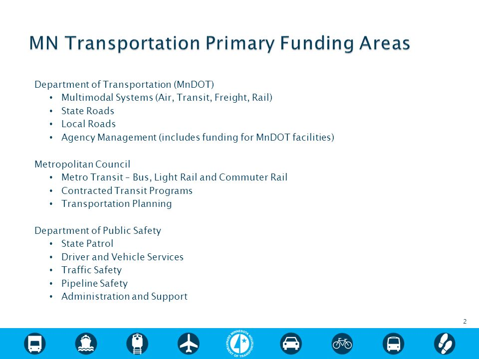 Department of Transportation (MnDOT) Multimodal Systems (Air, Transit, Freight, Rail) State Roads Local Roads Agency Management (includes funding for MnDOT facilities) Metropolitan Council Metro Transit – Bus, Light Rail and Commuter Rail Contracted Transit Programs Transportation Planning Department of Public Safety State Patrol Driver and Vehicle Services Traffic Safety Pipeline Safety Administration and Support 2