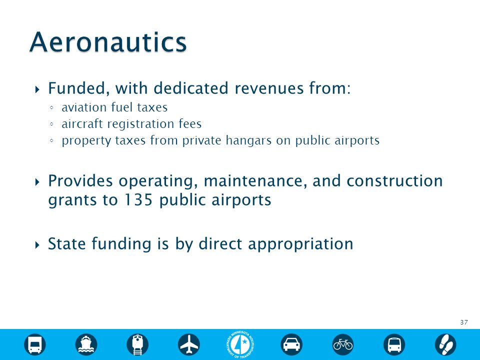 Funded, with dedicated revenues from: aviation fuel taxes aircraft registration fees property taxes from private hangars on public airports Provides operating, maintenance, and construction grants to 135 public airports State funding is by direct appropriation 37