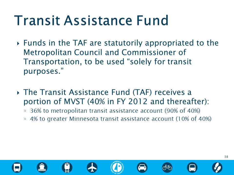 Funds in the TAF are statutorily appropriated to the Metropolitan Council and Commissioner of Transportation, to be used solely for transit purposes.