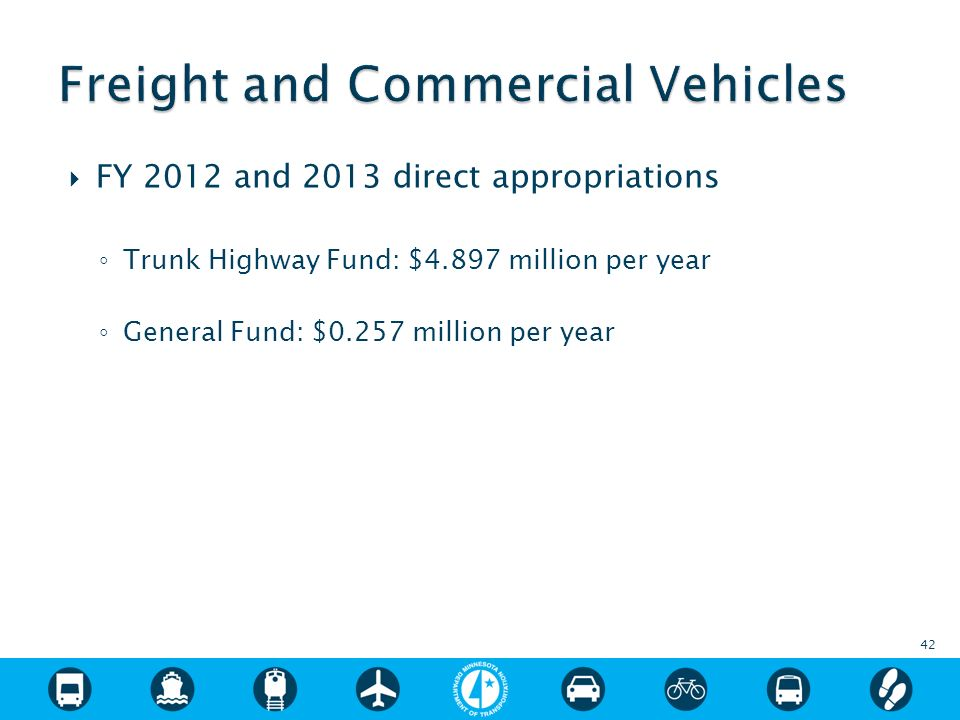 FY 2012 and 2013 direct appropriations Trunk Highway Fund: $4.897 million per year General Fund: $0.257 million per year 42