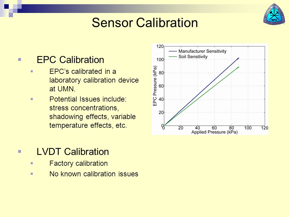 Sensor Calibration EPC Calibration EPCs calibrated in a laboratory calibration device at UMN. Potential Issues include: stress concentrations, shadowi