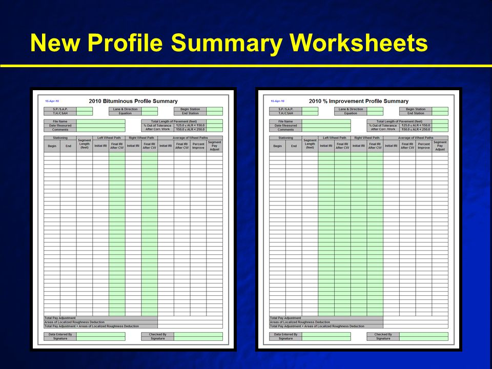 New Profile Summary Worksheets