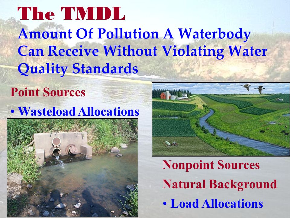 The TMDL Amount Of Pollution A Waterbody Can Receive Without Violating Water Quality Standards Point Sources Wasteload Allocations Nonpoint Sources Natural Background Load Allocations