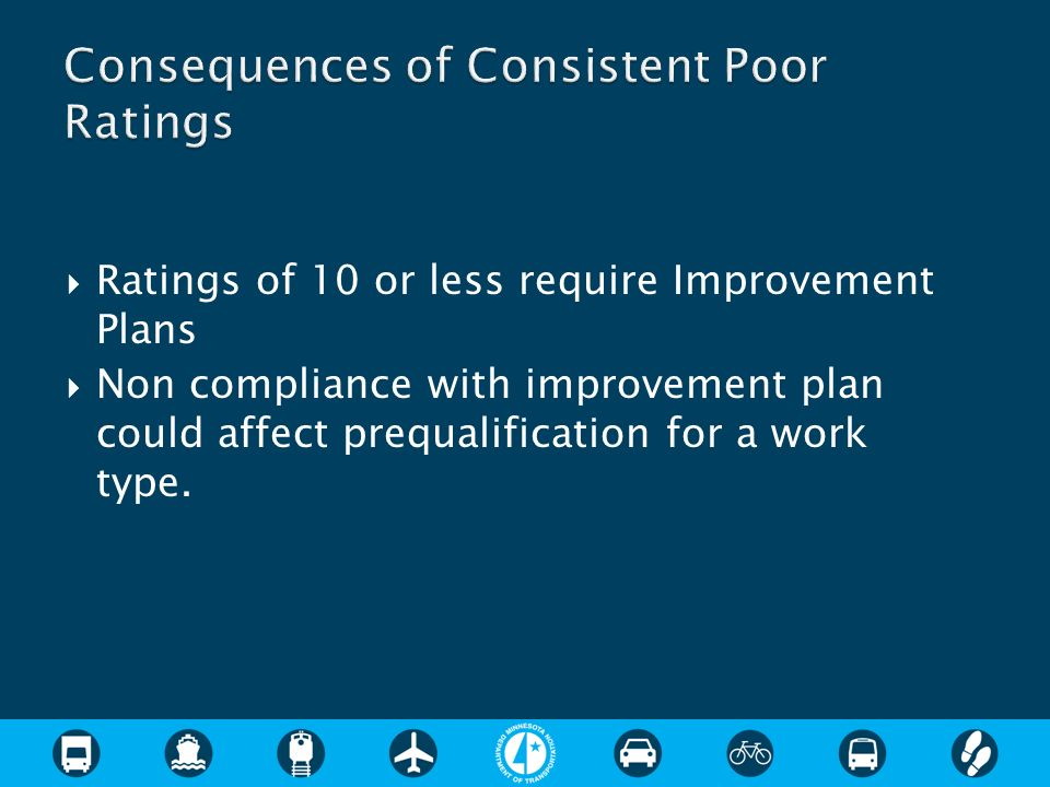 Ratings of 10 or less require Improvement Plans Non compliance with improvement plan could affect prequalification for a work type.