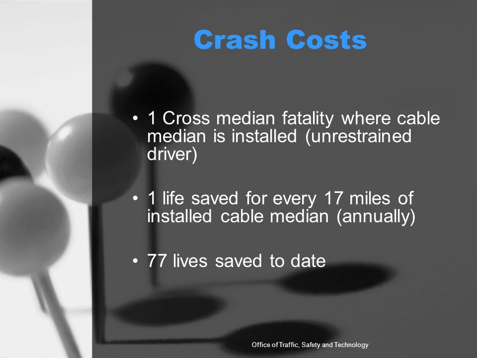 Crash Costs 1 Cross median fatality where cable median is installed (unrestrained driver) 1 life saved for every 17 miles of installed cable median (annually) 77 lives saved to date Office of Traffic, Safety and Technology