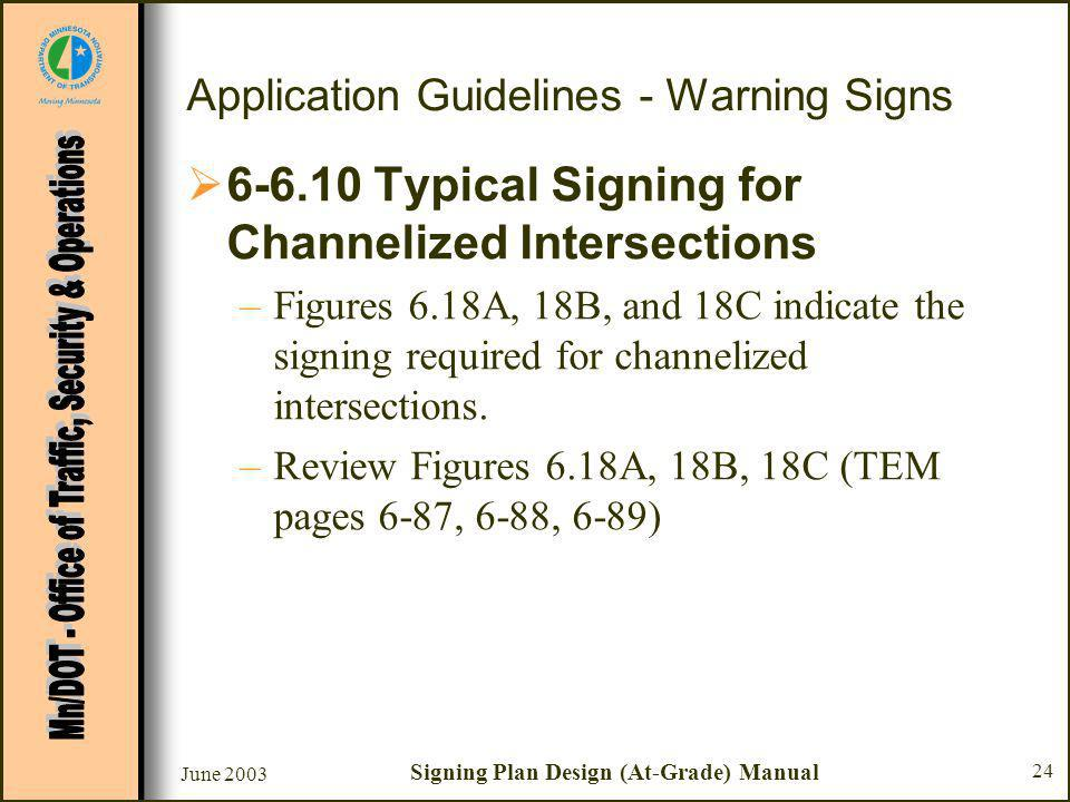 June 2003 Signing Plan Design (At-Grade) Manual 24 Application Guidelines - Warning Signs Typical Signing for Channelized Intersections –Figures 6.18A, 18B, and 18C indicate the signing required for channelized intersections.