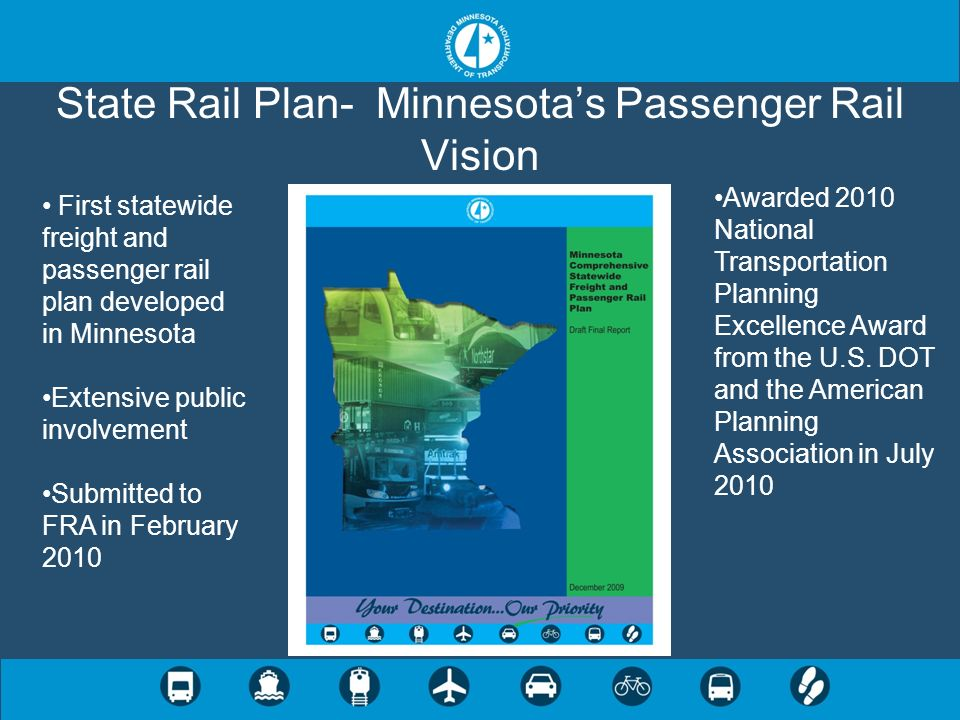 State Rail Plan- Minnesotas Passenger Rail Vision Awarded 2010 National Transportation Planning Excellence Award from the U.S. DOT and the American Pl