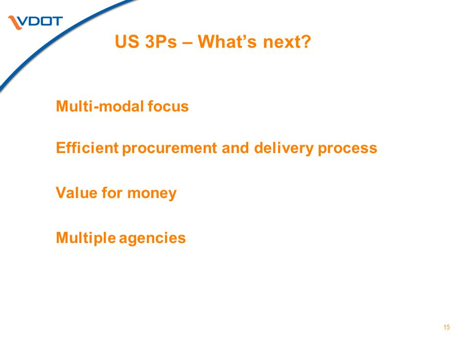 15 US 3Ps – Whats next.