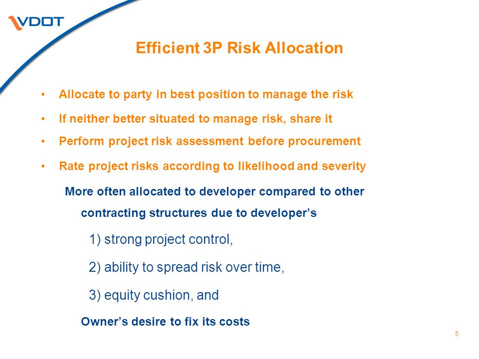 6 Efficient 3P Risk Allocation Reduce likelihood and/or magnitude of risk before procurement through pre-development work, data generation/gathering, and due diligence Compare cost of: Risk retention vs.