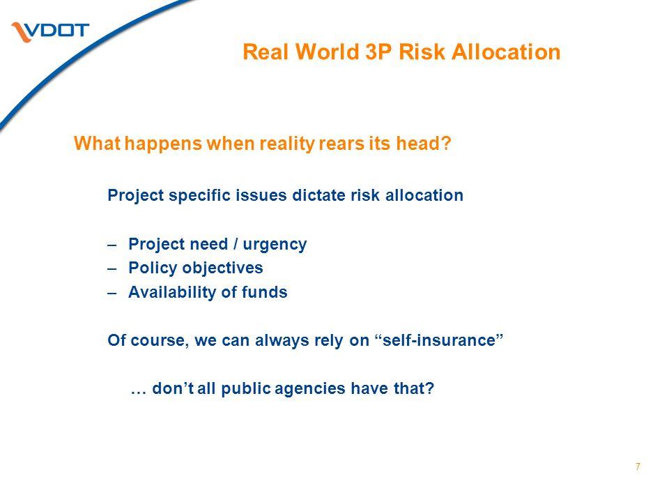 8 Key Risk Issues Procurement / Political Risks Revenue Risks Regulatory Risks Construction Risks O&M Risks