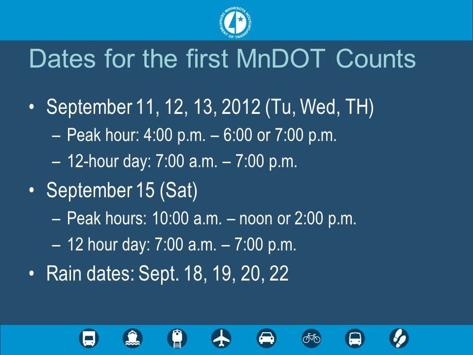 Dates for the first MnDOT Counts September 11, 12, 13, 2012 (Tu, Wed, TH) –Peak hour: 4:00 p.m.