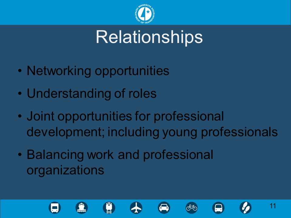 11 Relationships Networking opportunities Understanding of roles Joint opportunities for professional development; including young professionals Balancing work and professional organizations