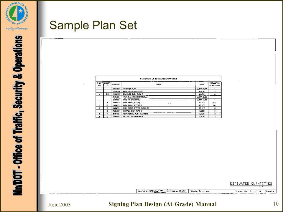 June 2003 Signing Plan Design (At-Grade) Manual 10 Sample Plan Set Sheet #2 - Estimated Quantities –Quantities generally taken from data sheets that f