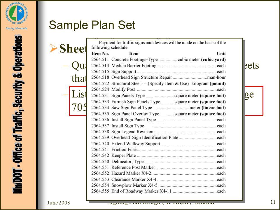 June 2003 Signing Plan Design (At-Grade) Manual 11 Sample Plan Set Sheet #2 - Estimated Quantities –Quantities generally taken from data sheets that f