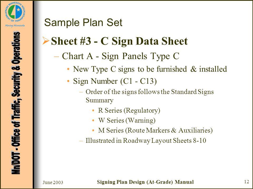 June 2003 Signing Plan Design (At-Grade) Manual 12 Sample Plan Set Sheet #3 - C Sign Data Sheet –Chart A - Sign Panels Type C New Type C signs to be f