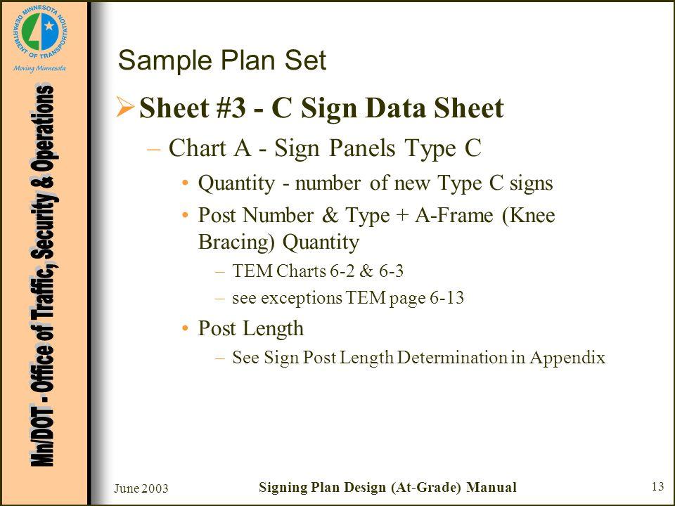June 2003 Signing Plan Design (At-Grade) Manual 13 Sample Plan Set Sheet #3 - C Sign Data Sheet –Chart A - Sign Panels Type C Quantity - number of new
