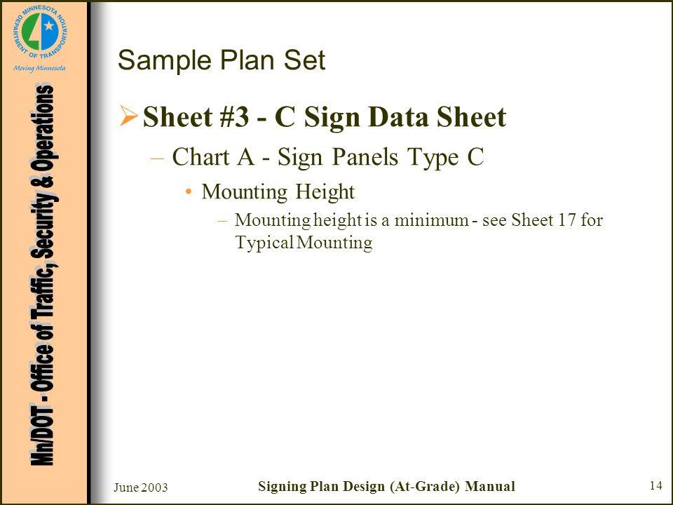 June 2003 Signing Plan Design (At-Grade) Manual 14 Sample Plan Set Sheet #3 - C Sign Data Sheet –Chart A - Sign Panels Type C Mounting Height –Mountin