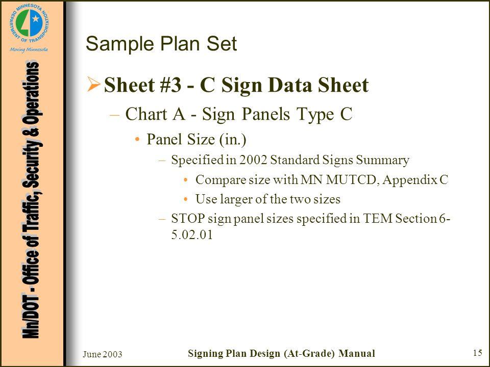June 2003 Signing Plan Design (At-Grade) Manual 15 Sample Plan Set Sheet #3 - C Sign Data Sheet –Chart A - Sign Panels Type C Panel Size (in.) –Specif