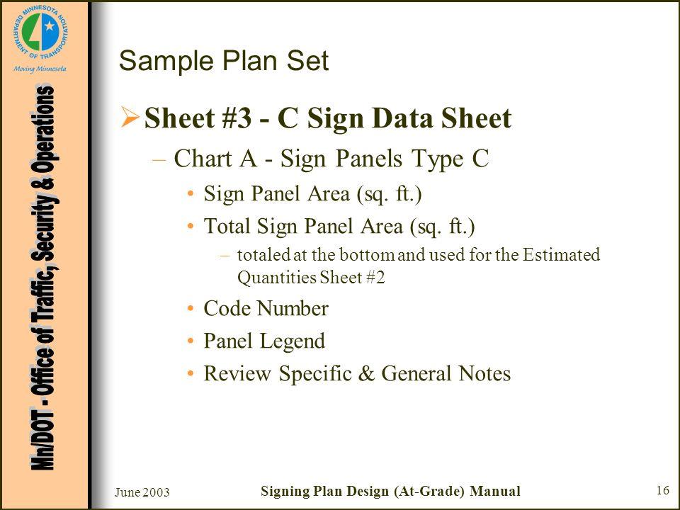 June 2003 Signing Plan Design (At-Grade) Manual 16 Sample Plan Set Sheet #3 - C Sign Data Sheet –Chart A - Sign Panels Type C Sign Panel Area (sq. ft.
