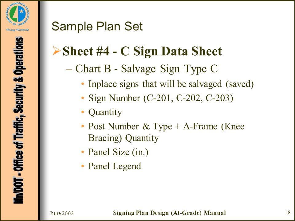 June 2003 Signing Plan Design (At-Grade) Manual 18 Sample Plan Set Sheet #4 - C Sign Data Sheet –Chart B - Salvage Sign Type C Inplace signs that will