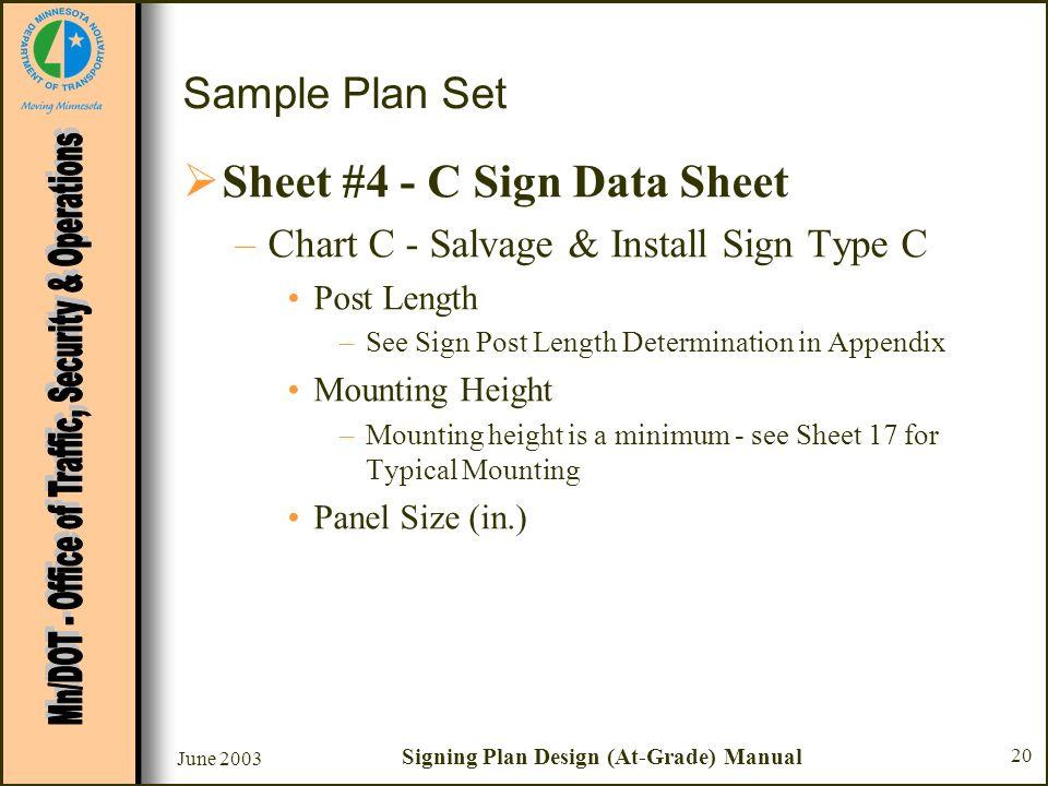 June 2003 Signing Plan Design (At-Grade) Manual 20 Sample Plan Set Sheet #4 - C Sign Data Sheet –Chart C - Salvage & Install Sign Type C Post Length –