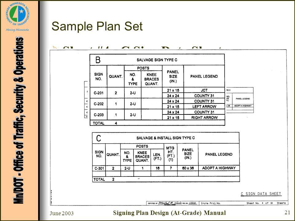 June 2003 Signing Plan Design (At-Grade) Manual 21 Sample Plan Set Sheet #4 - C Sign Data Sheet –Chart C - Salvage & Install Sign Type C Post Length –