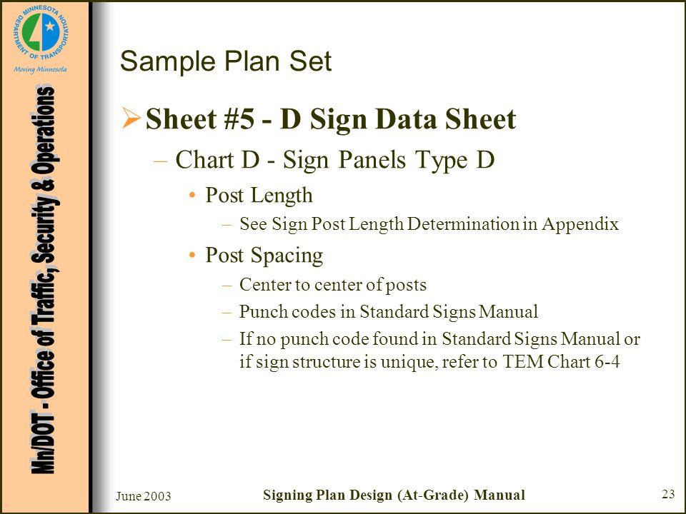 June 2003 Signing Plan Design (At-Grade) Manual 23 Sample Plan Set Sheet #5 - D Sign Data Sheet –Chart D - Sign Panels Type D Post Length –See Sign Po