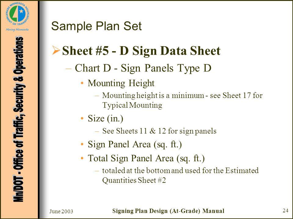 June 2003 Signing Plan Design (At-Grade) Manual 24 Sample Plan Set Sheet #5 - D Sign Data Sheet –Chart D - Sign Panels Type D Mounting Height –Mountin
