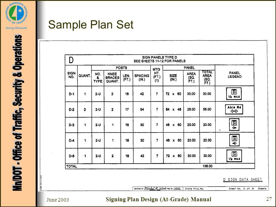 June 2003 Signing Plan Design (At-Grade) Manual 27 Sample Plan Set Sheet #5 - D Sign Data Sheet –Chart D - Sign Panels Type D Panel Legend Review Spec