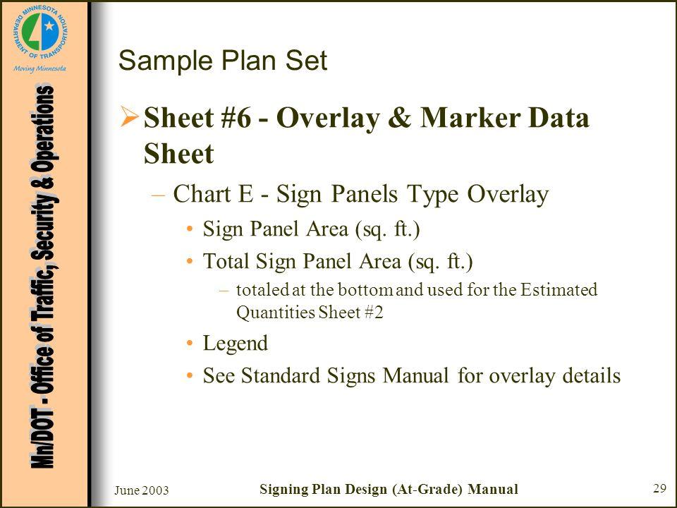 June 2003 Signing Plan Design (At-Grade) Manual 29 Sample Plan Set Sheet #6 - Overlay & Marker Data Sheet –Chart E - Sign Panels Type Overlay Sign Pan