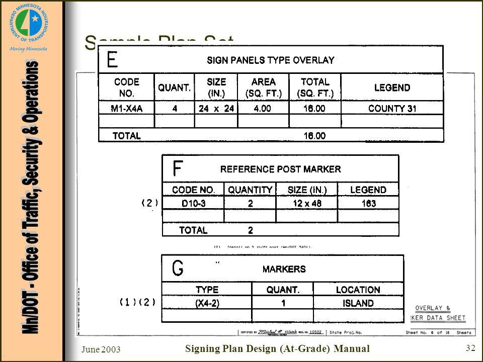 June 2003 Signing Plan Design (At-Grade) Manual 32 Sample Plan Set Sheet #6 - Overlay & Marker Data Sheet –Chart G - Markers Type –See Standard Signs