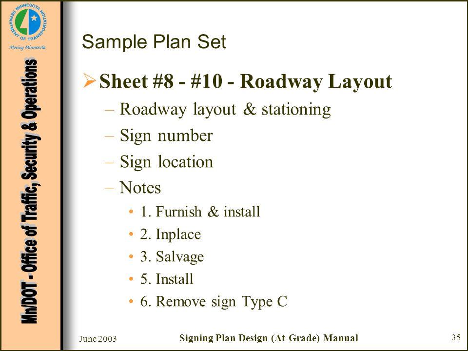 June 2003 Signing Plan Design (At-Grade) Manual 35 Sample Plan Set Sheet #8 - #10 - Roadway Layout –Roadway layout & stationing –Sign number –Sign loc