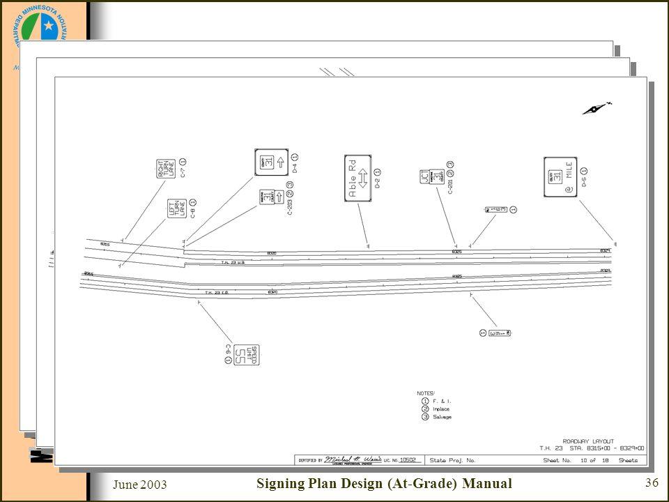 June 2003 Signing Plan Design (At-Grade) Manual 36 Sample Plan Set Sheet #8 - #10 - Roadway Layout –Roadway layout & stationing –Sign number –Sign loc