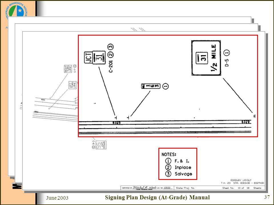 June 2003 Signing Plan Design (At-Grade) Manual 37 Sample Plan Set Sheet #8 - #10 - Roadway Layout –Roadway layout & stationing –Sign number –Sign loc