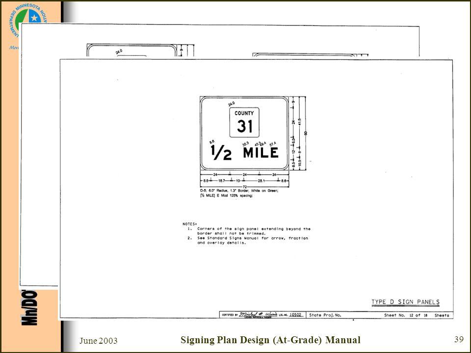 June 2003 Signing Plan Design (At-Grade) Manual 39 Sample Plan Set Sheets #11 & 12 –SignCAD program used to design panels –Sign panel dimensioning –Se