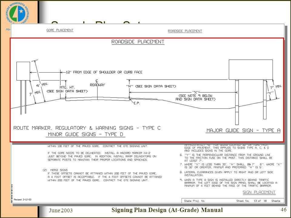 June 2003 Signing Plan Design (At-Grade) Manual 46 Sample Plan Set Sheet #13 - Sign Placement –Roadside Placement Route Marker, Regulatory & Warning S