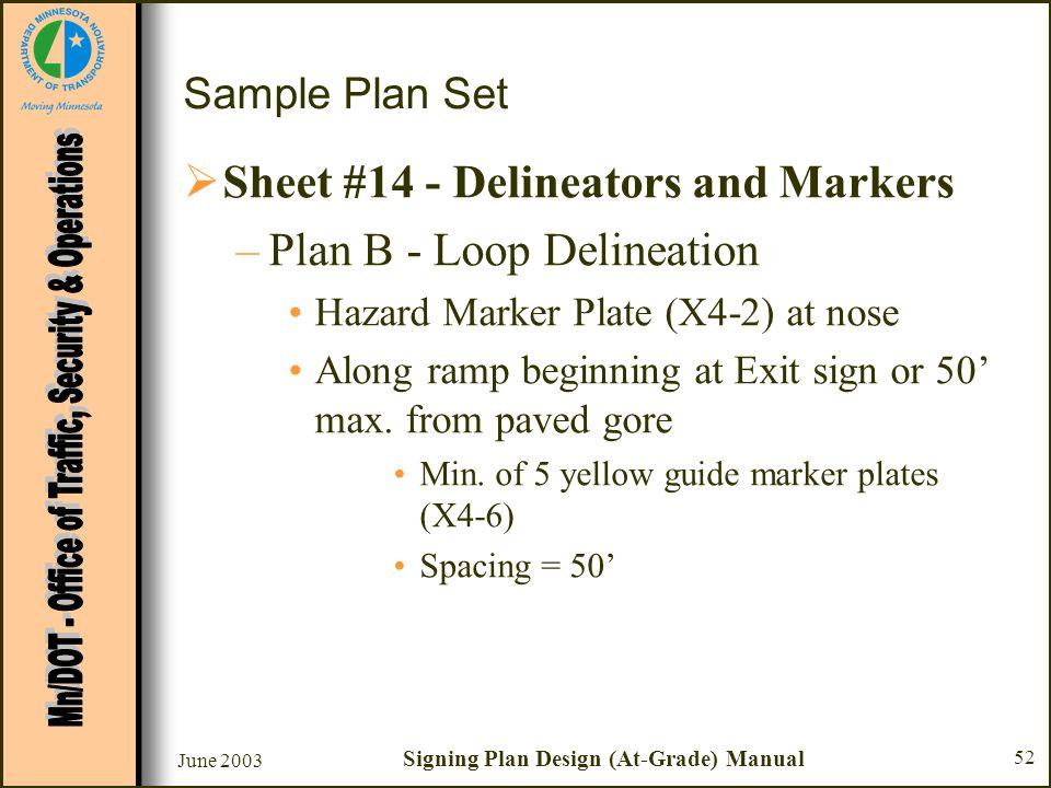 June 2003 Signing Plan Design (At-Grade) Manual 52 Sample Plan Set Sheet #14 - Delineators and Markers –Plan B - Loop Delineation Hazard Marker Plate