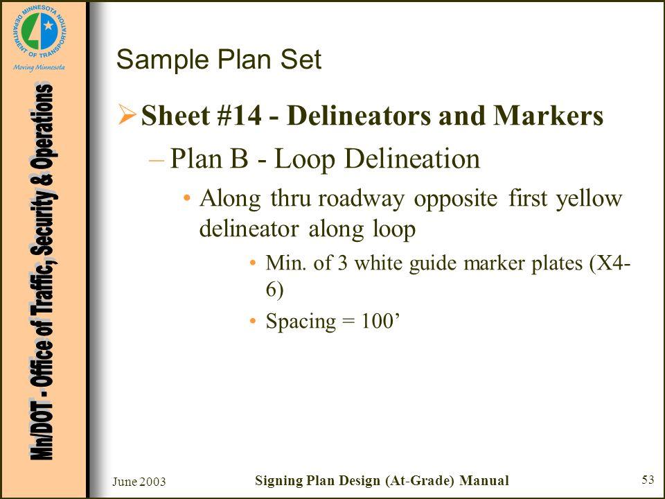 June 2003 Signing Plan Design (At-Grade) Manual 53 Sample Plan Set Sheet #14 - Delineators and Markers –Plan B - Loop Delineation Along thru roadway o