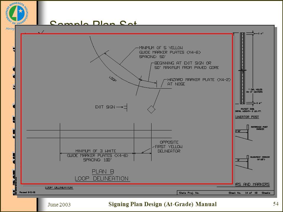 June 2003 Signing Plan Design (At-Grade) Manual 54 Sample Plan Set Sheet #14 - Delineators and Markers –Plan B - Loop Delineation Along thru roadway o