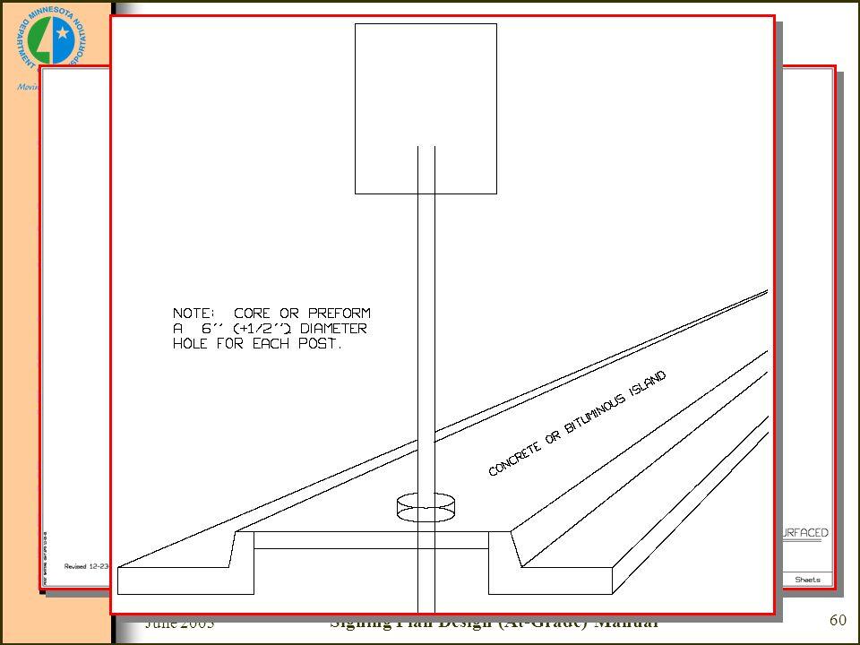 June 2003 Signing Plan Design (At-Grade) Manual 60 Sample Plan Set Sheet #15 - Flanged Channel Post Mounted Through Surfaced Median or Sidewalk –Sign