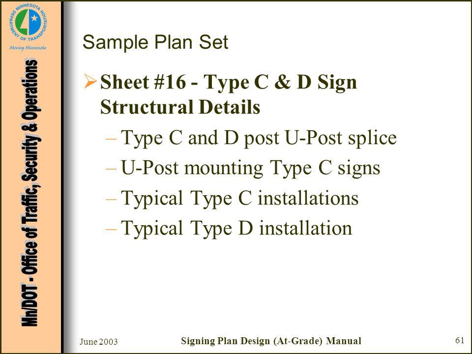June 2003 Signing Plan Design (At-Grade) Manual 61 Sample Plan Set Sheet #16 - Type C & D Sign Structural Details –Type C and D post U-Post splice –U-