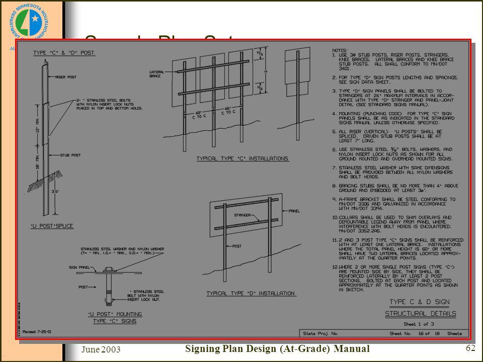 June 2003 Signing Plan Design (At-Grade) Manual 62 Sample Plan Set Sheet #16 - Type C & D Sign Structural Details –Type C and D post U-Post splice –U-
