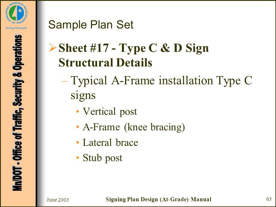 June 2003 Signing Plan Design (At-Grade) Manual 63 Sample Plan Set Sheet #17 - Type C & D Sign Structural Details –Typical A-Frame installation Type C