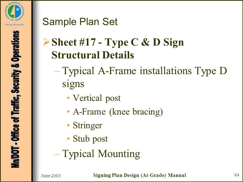 June 2003 Signing Plan Design (At-Grade) Manual 64 Sample Plan Set Sheet #17 - Type C & D Sign Structural Details –Typical A-Frame installations Type
